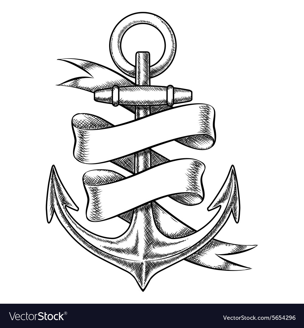 Hand drawn anchor sketch with blank ribbon vector