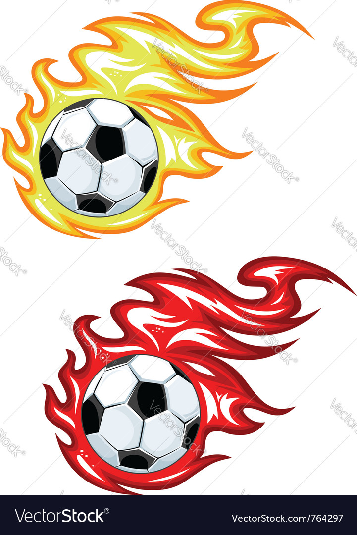 Footballs with flames vector