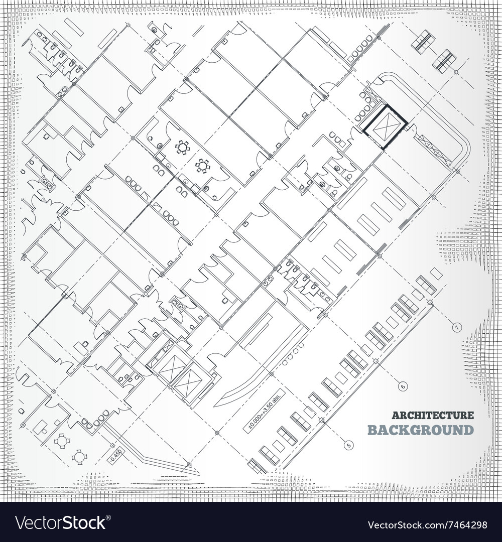 Architectural pattern gray building plan vector