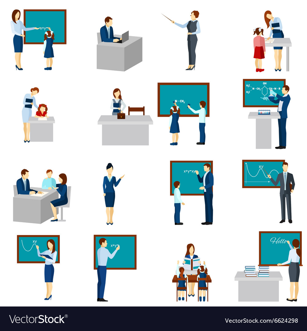 Teacher and pupils flat icons set vector