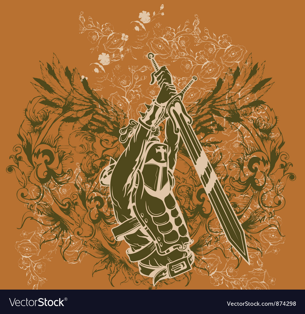 Vintage tshirt disign with warriror vector
