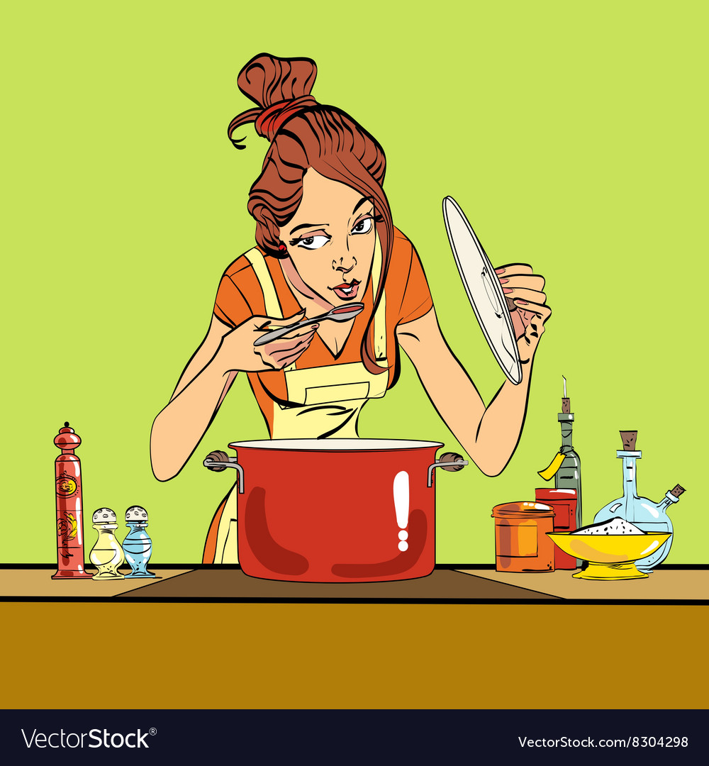 Woman preparing food in the kitchen vector