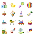 Set kids toys icons isolated vector image