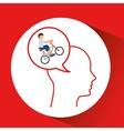 head silhouette cyclist extreme sport vector image