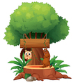 A tree with animals and an empty signboard vector image vector image