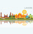 lahore skyline with color landmarks blue sky and vector image