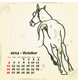 October 2014 hand drawn horse calendar vector image vector image