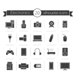 Consumer electronics black silhouette icons set vector image