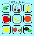 Funny fruit icons set vector image