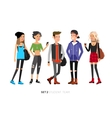 cute people at the simple style with gadgets vector image