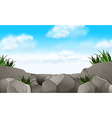 Scene with stone and grass vector image