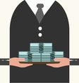 Businessman holding a tray with money vector image