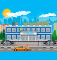 city police station biulding car tree cityscape vector image