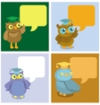 cute owl with speech bubbles vector image