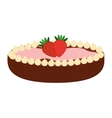 delicious pie with strawberries isolated icon vector image