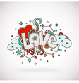 Doodle word LOVE with snowflakes light bulbs clo vector image