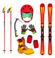 helmet gloves ski boots pads ice pick in flat vector image