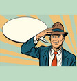 retro businessman takes off his hat vector image