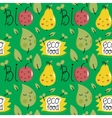 Eco food seamless pattern with fruit characters vector image
