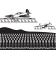 agricultural aircraft and helicopter spray crops vector image