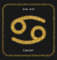 Cancer golden sign of zodiac flat linear icons vector image