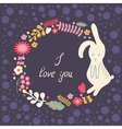 floral frame with hare vector image
