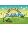 Park with rainbow vector image