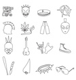various black punk outline icons set eps10 vector image