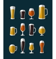 Beer glasses icons set vector image