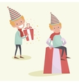 Christmas Elf is sitting on big gift Christmas vector image