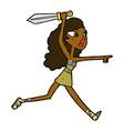 comic cartoon girl with sword vector image