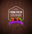 Farm fresh poster Wooden background typography vector image