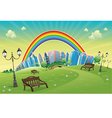 Park with rainbow vector image