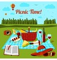 Picnic time poster with different food and drink vector image