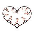 running woman inside heart shape vector image