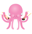Octopus Eating Sushi vector image