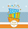 lovely bierhday card with golden glittering vector image