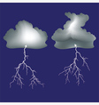 Isolated lightning and dark clouds vector image vector image