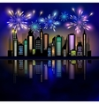 Fireworks over the city vector image