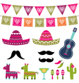 Mexican party decoration and photo booth pr vector image