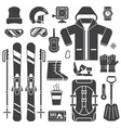 Mountain Skiing Equipment Outline Icons vector image