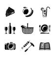 Set of monochrome picnic icons - basket plate vector image
