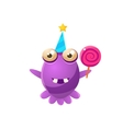 Purple Toy Monster In Party Hat Holding A Lollypop vector image