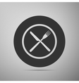 Restaurant icon Crossed fork and knife flat icon vector image vector image