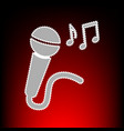 microphone sign with music notes postage stamp or vector image