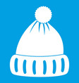 woolen hat icon white vector image