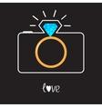 Photo camera and Diamond shining flash Gold vector image