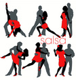 salsa dancers set vector image