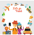 Tourist Traveler Selfie with Smartphone Frame vector image
