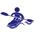 Logo design for kayaking in blue vector image